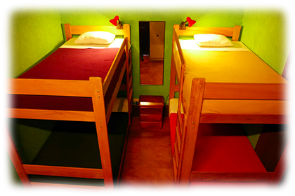 2 Beds in Private Room<br><br>First floor private dormitory with 2 bunk beds and shared bathroom.<br><br><small>Includes personal lamps, personal security lockers, a mirror, a fan, towels, sheets, pillows, extra blankets and breakfast.<br>(Click on the picture)</small>